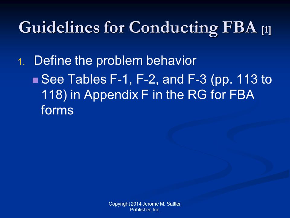 Guidelines for Conducting FBA [1]